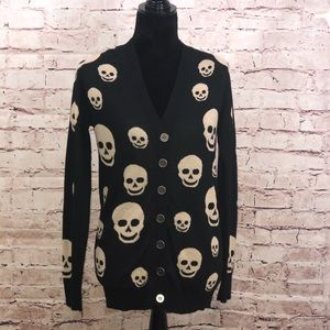 TCEC | Ladies Long Skull Cardigan sweater in black